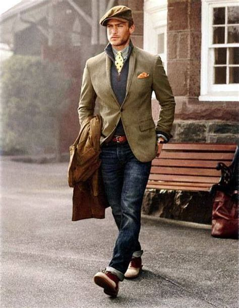 mens country style s brown trenchcoat blazer navy zip neck sweater
