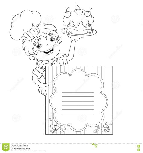 menu template for pages coloring page outline of boy chef with cake menu