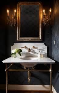 Elegant Wallpaper For Powder Room Black Flocked Wallpaper Transitional Bathroom Ashley