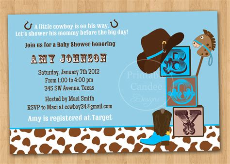 Cowboy Themed Baby Shower Ideas by Theme Cowboy Baby Shower Invitations