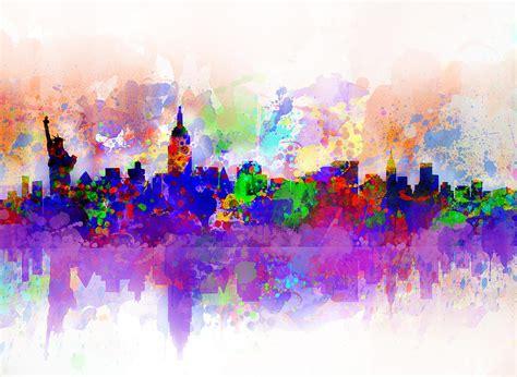 Nyc Duvet New York Skyline Splats 3 Painting By Bekim Art