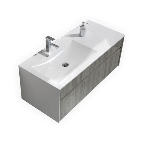 Bathroom Sink With 2 Faucets Fitto 48 Ash Gray Wall Mount Modern Bathroom Vanity