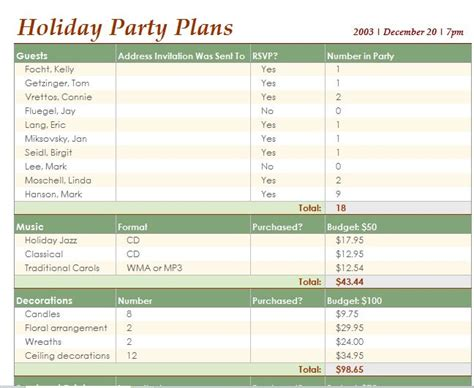 event planning excel template image collections template design ideas