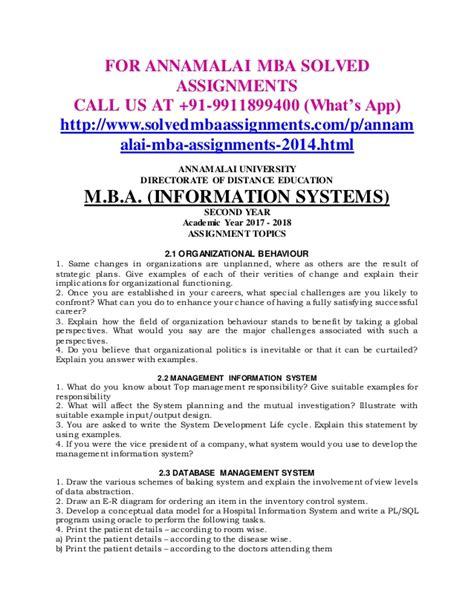 Annamalai Distance Education Mba Assignment 2017 by Annamalai