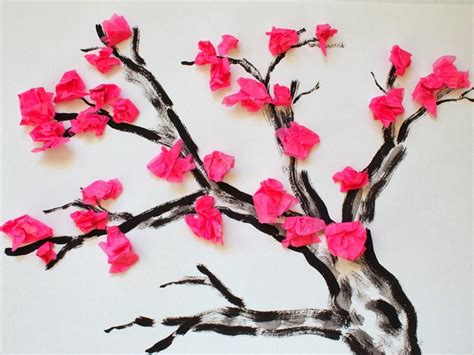 How To Make A Cherry Blossom Tree Out Of Paper - cherry blossom finger painting tree painting