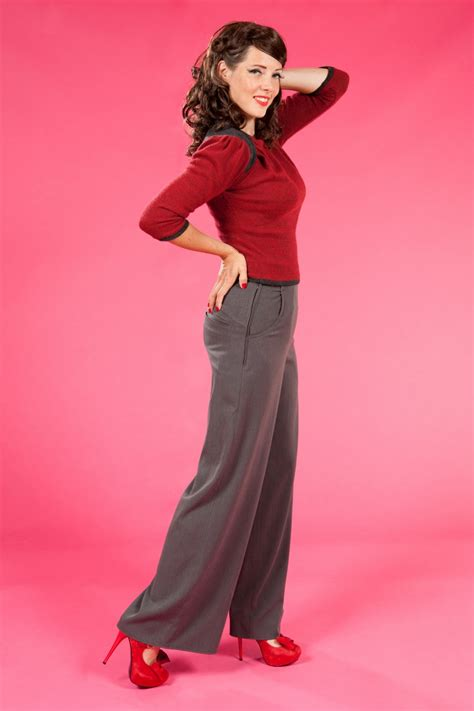 swing dance pants 40s katherine hepburn high waisted swing trousers grey