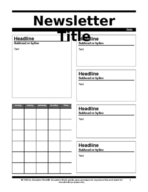 Newsletter 2 Template Education World Print Newsletter Templates