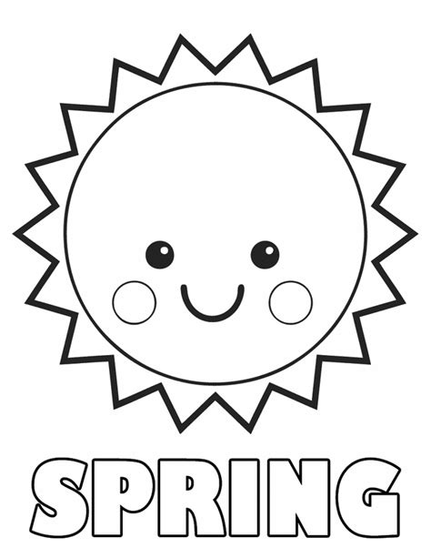 printable coloring pages of smiley spring sun for kids