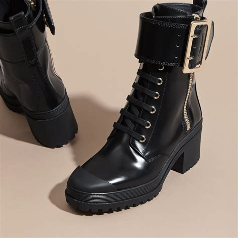 leather buckle detail boots black burberry
