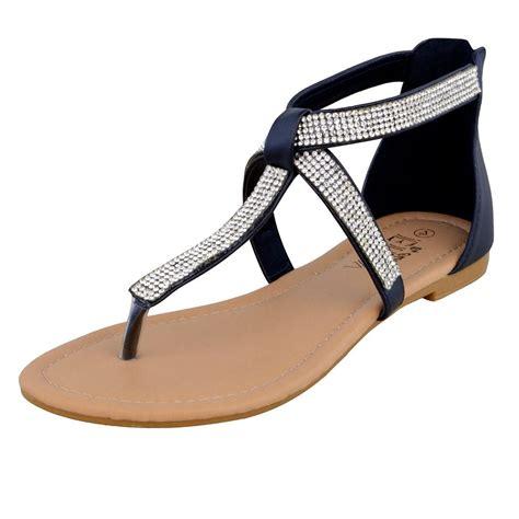 womens flat t bar shoes womens t bar diamante summer flat strappy flip flops