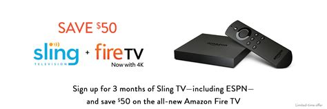 Sling Tv Gift Card Online - amazon com save 50 on amazon fire tv with slingtv