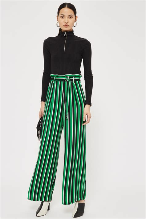 Stripe Wide stripe paperbag wide leg trousers clothing topshop