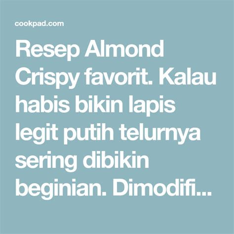 almond crispy resep resep  telur