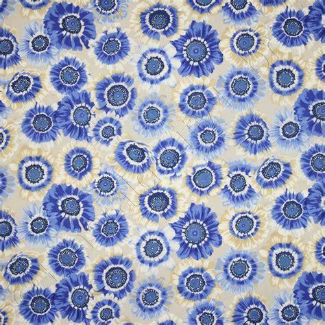 Kaffe Fassett Upholstery Fabric by Kaffe Fassett Collective Painted Daisies Blue Fabric