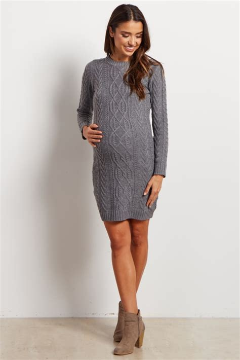 17571 Color Oversize S M Sale Dress grey cable knit sleeve maternity sweater dress