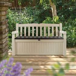 keter eden 70 gal all weather outdoor patio storage bench deck box beige brown ebay