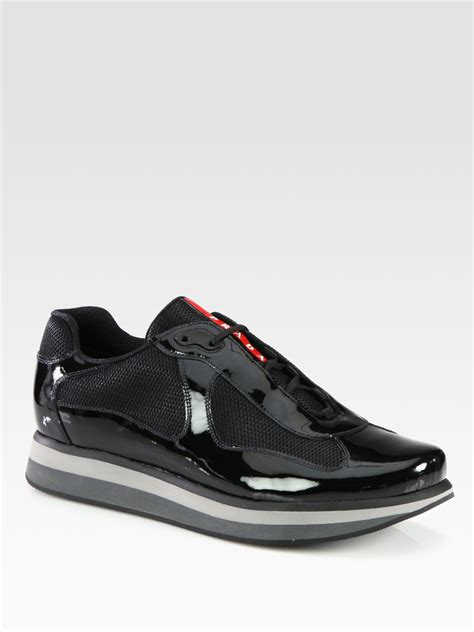 mens patent leather sneakers prada americas cup patent leather sneakers in black for