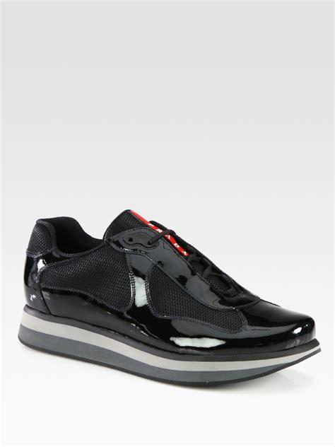 prada sneakers black patent leather prada americas cup patent leather sneakers in black for