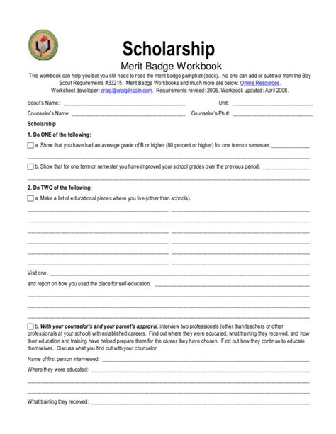 Scholarship Merit Badge Letter Worksheets Merit Badges Worksheets Chicochino Worksheets And Printables