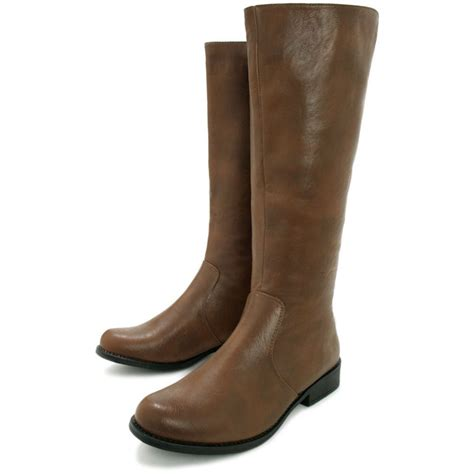 buy flat toggle knee high biker boots brown leather