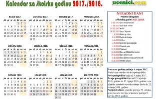 Kalendar 2018 Godine školski Kalendar S Praznicima Za 2017 2018 Godinu