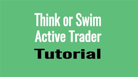 Thinkorswim Active Trader Tutorial Dom Level 2 Order Book Price Ladder Trading Youtube Thinkorswim Active Trader Order Template
