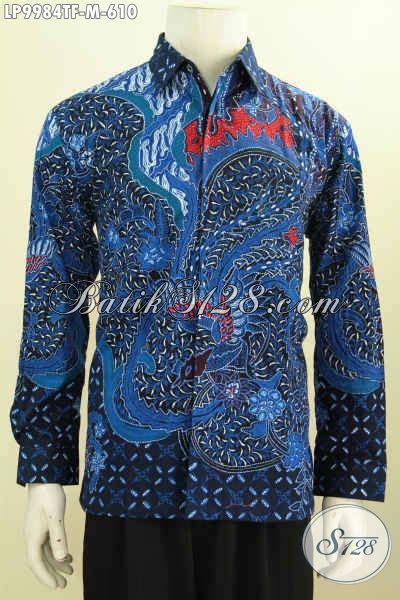 Kemeja Batik Blok Warna Biru Muda jual hem lengan panjang warna biru kemeja batik halus furing motif klasik pria
