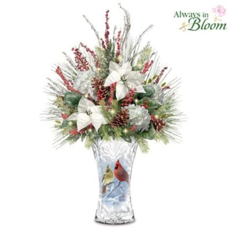 winter cardinals table centerpiece with frosted vase