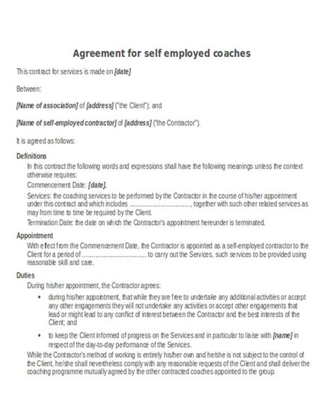 self employed agreement template self employment agreement