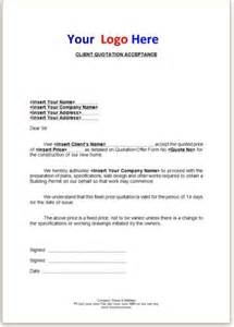 Quotation Letter Template by Quotation Acceptance Letter Builders Quotation Template