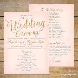 blush pink and gold wedding program fan printable wedding