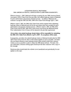 Ada Claim Form 2012 Printable