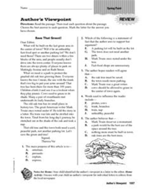 Author S Point Of View Worksheets by Author S Viewpoint Save That Green 4th 6th Grade
