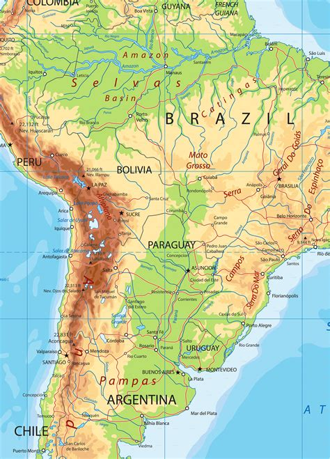 map of south america free large images south america detailed physical map by cartarium