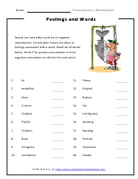 Connotation And Denotation Worksheets by Connotation And Denotation Worksheets