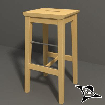 ikea wooden bar stool ikea stool wood 3d model