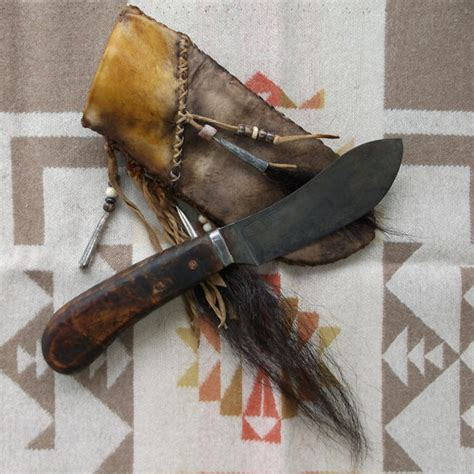 primitive knives primitive nessmuk mountain knife in decorated rawhide