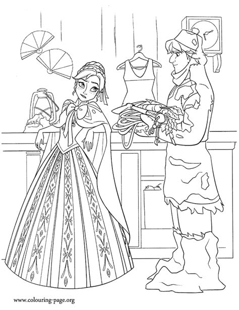 coloring pages frozen fever frozen anna and kristoff talking in the store coloring page