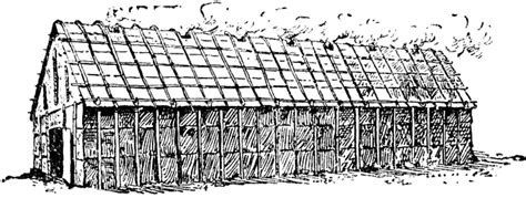 coloring pages longhouse iroquois long house clipart etc