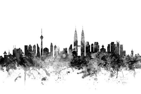Wallpaper Design Kuala Lumpur | kuala lumpur skyline black wall mural photo wallpaper