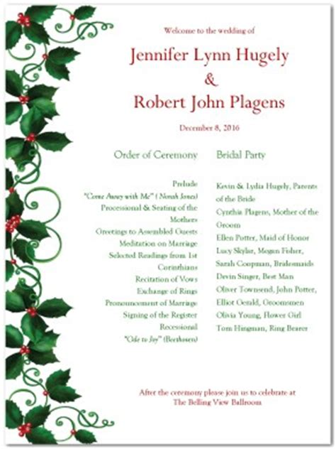 christmas program template printable wedding program template