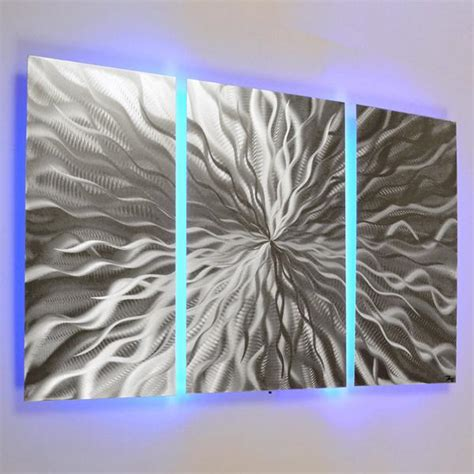 led light wall decor quot cosmic energy 3 panel quot 40 quot x24 quot abstract metal wall
