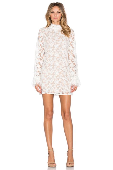 Alexi Dress lyst alanis ruffle sleeve lace dress in white