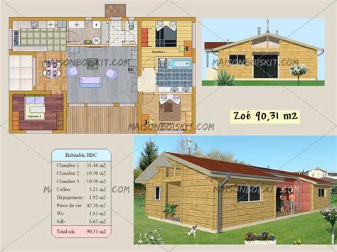 Plan Maison Plain Pied 50m2 Maison Ossature Bois Projet plan gratuit de chalet en bois en kit et plan de maison bois