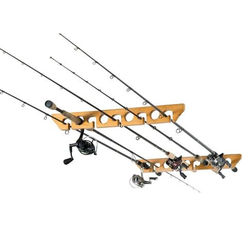 Fishing Rod Rack Horizontal by Organized Fishing 9 Capacity Oak Wood Ceiling Horizontal