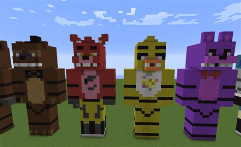 Pdf Five Nights At Minecraft by Five Nights At Freddy S Statues Freddy Foxy Chica And