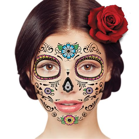 day of the dead face tattoo temporary floral day of the dead