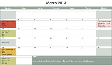 Calendario De Eventos Calendario De Eventos Marzo 2013 Asotipra