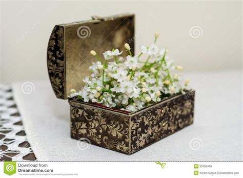 Decorative Purposes by Ornamental Box With Artificial Flowers Stock Photo Image