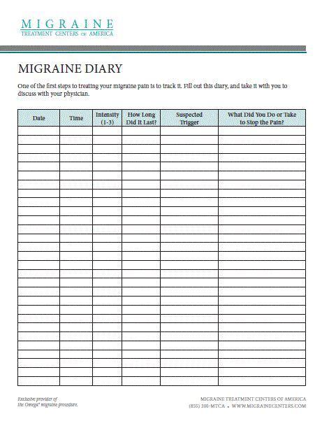 ideas headache diary pinterest migraine